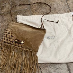 Jimmy Choo Tita fringe suede clutch/shoulder bag